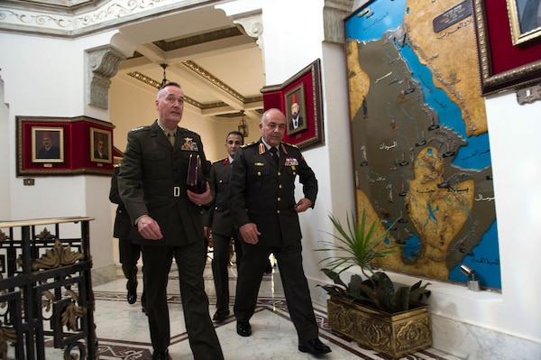 Marine Corps Gen. Joseph F. Dunford Jr., chairman of the Joint Chiefs of Staff, walks with Egyptian Chief of the Armed Forces Lt. Gen. Mahmoud Hegazy at the Ministry of Defense in Cairo, Feb. 20, 2016. DoD photo by D. Myles Cullen