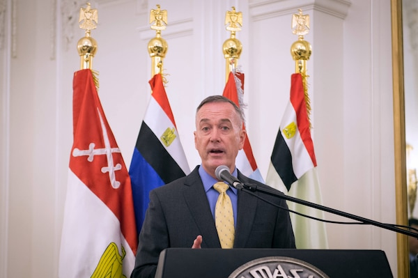 Marine Corps Gen. Joseph F. Dunford Jr., chairman of the Joint Chiefs of Staff, addresses senior Egyptian military leaders before a dinner at the Finance House in Cairo, Feb. 20, 2016. DoD photo by D. Myles Cullen