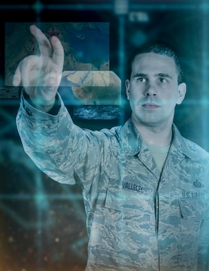Graphic representation of Tech. Sgt. Jason Valleley, 204th intelligence analyst, as he simulates manipulating data in Google Earth. Valleley headed the development for a way to use  classified Google Earth with integrated intelligence gathered from multiple sources to aid United States' military units throughout the world. The images employed in this illustration are purely representational and do not reflect any current or past intelligence operations. (U.S. Air National Guard illustration by Senior Airman Kellyann Novak/Released)