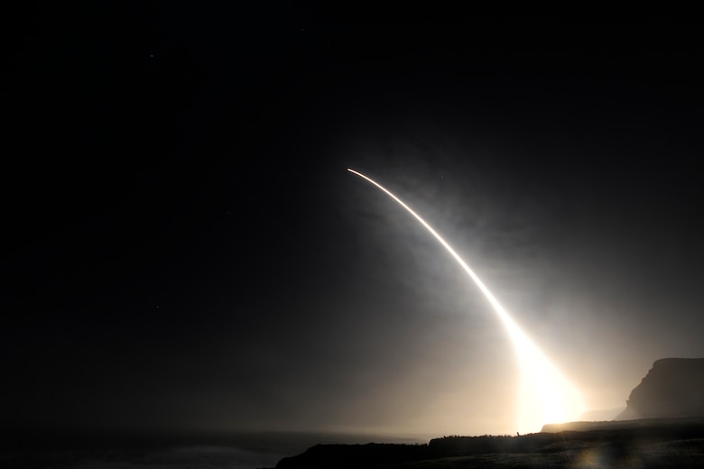 An unarmed Minuteman III intercontinental ballistic missile launches during an operational test at 11:34 p.m. PST here Feb. 20, 2016, Vandenberg Air Force Base, Calif. (U.S. Air Force Photo by Michael Peterson/Released)