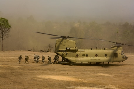 A U.S. Army CH-47 Chinook is used to transport Soldiers during a combined arms live fire exercise at Ban Chan Khrem, Thailand, during exercise Cobra Gold, Feb. 19, 2016. Cobra Gold is a multinational training exercise developed to strengthen security and interoperability between the Kingdom of Thailand, the U.S. and other participating nations. (U.S. Marine Corps Combat Camera photo by Lance Cpl. Eryn L. Edelman/Released)
