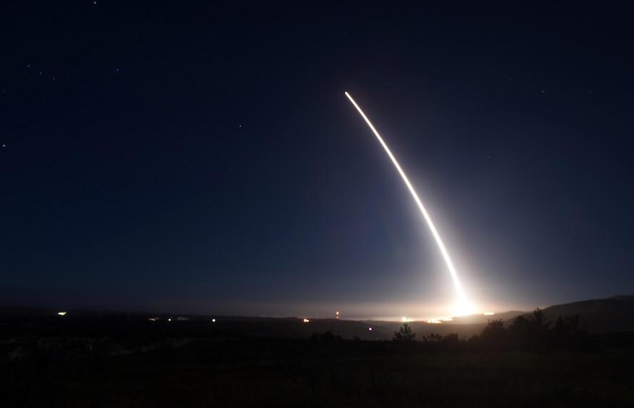 An unarmed Minuteman III intercontinental ballistic missile launches during an operational test at 11:34 p.m. PST Feb. 20, 2016, Vandenberg Air Force Base, Calif. (U.S. Air Force Photo by Senior Airman Kyla Gifford/Released)