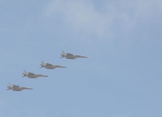 F-15 Eagles fly in formation Feb. 20 during the 2016 Pacific Air Partners Open House at Andersen Air Force Base, Guam. The open house showcased the things Airmen do and the capabilities of some of the world's strongest air forces. (U.S. Air Force photo/Airman 1st Class Arielle Vasquez)