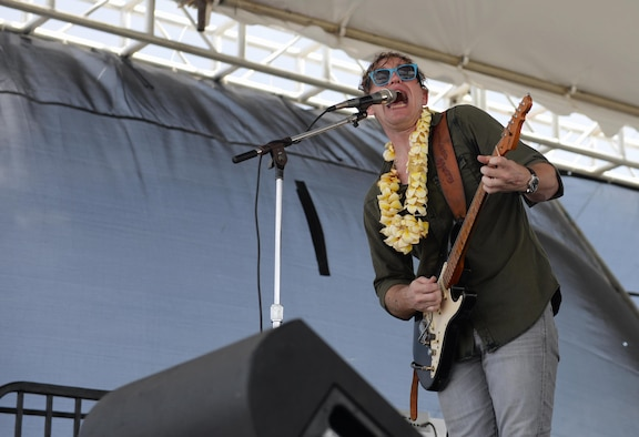 Chris Walker plays for attendees of the 2016 Pacific Air Partners Open House Feb. 20 at Andersen Air Force Base, Guam. In addition to the Chris Walker Band, attendees of the open house were able to experience musical acts from Full Sprectrum and Rumblefish. (U.S. Air Force photo/Airman 1st Class Jacob Skovo)