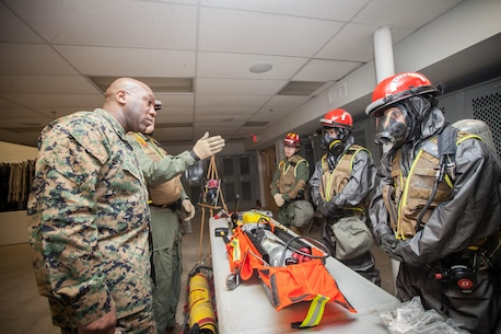 The 18th Sergeant Major of the Marine Corps, Ronald L. Green, visits Marines assigned to Chemical Biological Incident Response Force (CBIRF) aboard Naval Support Facility Indian Head, MD, Feb 18, 2016. The mission of CBIRF is to respond to a chemical, biological, radiological, nuclear or high-yield explosive threat or event in order to assist local, state, or federal agencies and the geographical combatant commanders.  (U.S. Marine Corps photo by Sgt. Melissa Marnell, Office of the Sergeant Major of the Marine Corps/Released)