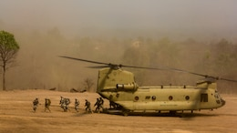 A U.S. Army CH-47 Chinook is used to transport Soldiers during a combined arms live fire exercise at Ban Chan Khrem, Thailand, during exercise Cobra Gold, Feb. 19, 2016. Cobra Gold is a multinational training exercise developed to strengthen security and interoperability between the Kingdom of Thailand, the U.S. and other participating nations.