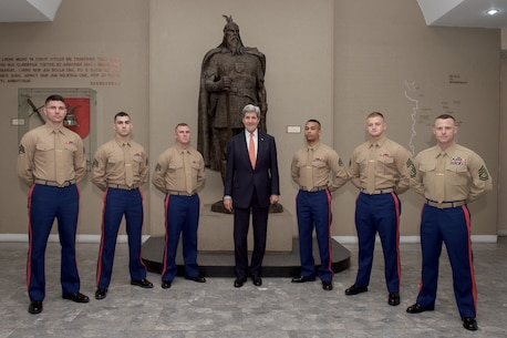The Marines of Marine Corps Embassy Security Group Detachment Tirana and Secretary of State Mr. John Kerry.
