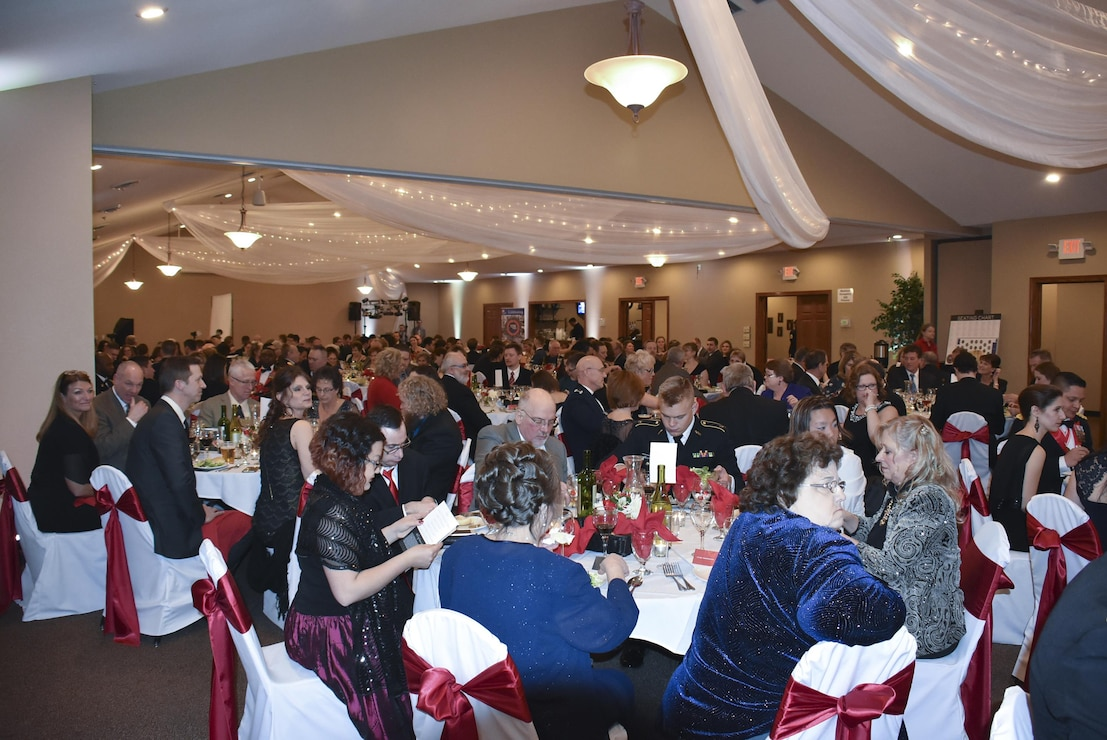 The St. Paul District kicked off its 2016 sesquicentennial celebration with an anniversary ball at the Lost Spur Golf Course in Eagan, Minnesota, Feb. 13. Hosted in the style of the military dining out, 208 people attended the event. Festivities included a social hour, formal program then dance. --USACE photo by Wendy Medlin
