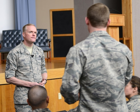 Chief Master Sgt. of the Air Force James Cody listens to a question at Laughlin Air Force Base, Texas, Feb. 12, 2016. Cody answered questions regarding the new Enlisted Performance Report system, enlisted Remotely Piloted Aircraft pilots and the overall direction of the Air Force. (U.S. Air Force photo by Senior Airman Jimmie D. Pike)
