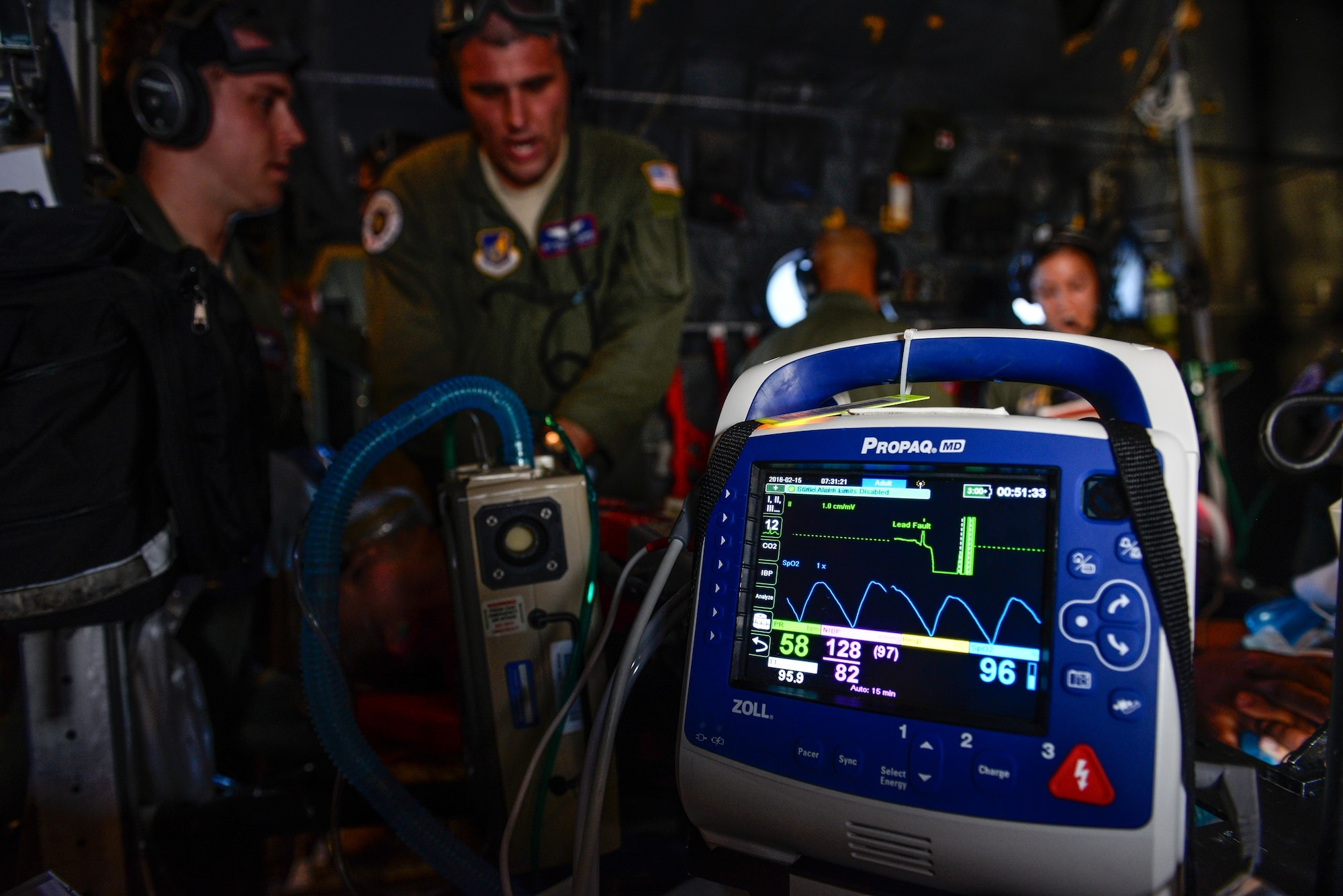 Staff Sgt. Matthew Flowers, an aeromedical evacuation technician with the 18th Aeromedical Evacuation Squadron, performs simulated CPR aboard a U.S. Air Force C-130 Hercules Feb. 15, 2016, during an expeditionary medical support exercise above the Pacific Ocean near Guam. Exercise Cope North 16 enhances humanitarian assistance and disaster relief crisis response capabilities between six nations and lays the foundation for regional cooperation during real-world contingencies in the Indo-Asia-Pacific region. (U.S. Air Force photo by Staff Sgt. Alexander W. Riedel/Released)