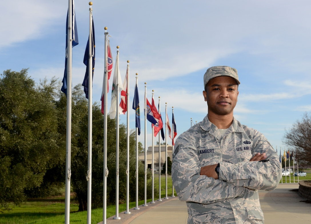 Staff Sgt. Shedrick Lambert, 48th Intelligence Squadron, supervisor of knowledge management. (U.S. Air Force photo by Schelli T. Jones)