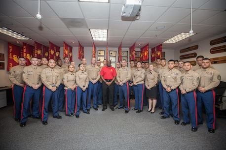 the 18th sergeant major of the marine corps ronald l green poses with