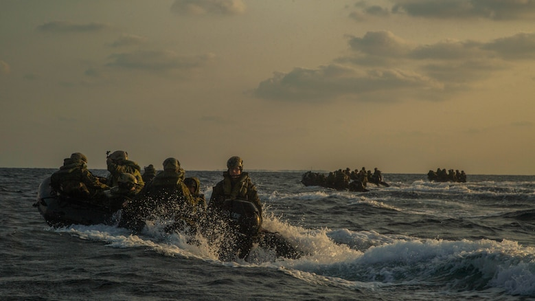 Marines with Bravo Company, Battalion Landing Team 1st Battalion, 5th Marines, 31st Marine Expeditionary Unit, head back to the USS Germantown in Combat Rubber Raiding Craft, Feb. 17, 2016, after conducting a successful boat raid the night before. The Marines conducted the boat raid as part of the 31st MEU's amphibious integration training with the Navy ships of the Bonhomme Richard Amphibious Ready Group. The Marines and sailors of the 31st MEU are currently deployed to the Asia-Pacific region.