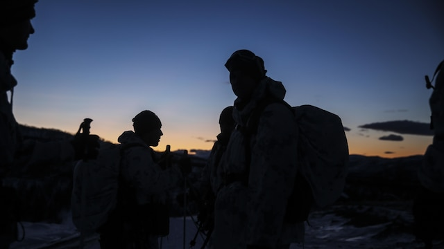 Marines with Black Sea Rotational Force prepare to march back to their primary location after completing the final assault during final exercise of cold-weather training aboard Porsangmoen, Norway, Feb. 16-20, 2016. Arctic training was conducted by U.K. Royal Marine Commando Mountain Leaders and hosted by the Norwegian military to improve the U.S. Marine Corps' capability to support their NATO Allies in extreme environments.
