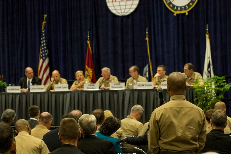 Sgt. Dion Edon asks Lt. Gen. David H. Berger a question about current efforts to improve military information support operations during the WEST 2016 Conference at the San Diego Convention Center, Feb. 17, 2016. The purpose of the conference was for service members to come together and discuss strategic military concepts and training, as well as meet with companies that can assist in making their concepts a reality. Edon is a military information support operations noncommissioned officer with Marine Corps Information Operations Center. Berger is the commanding general of I Marine Expeditionary Force.  (U.S. Marine Corps photo by Sgt. Emmanuel Ramos/Released)