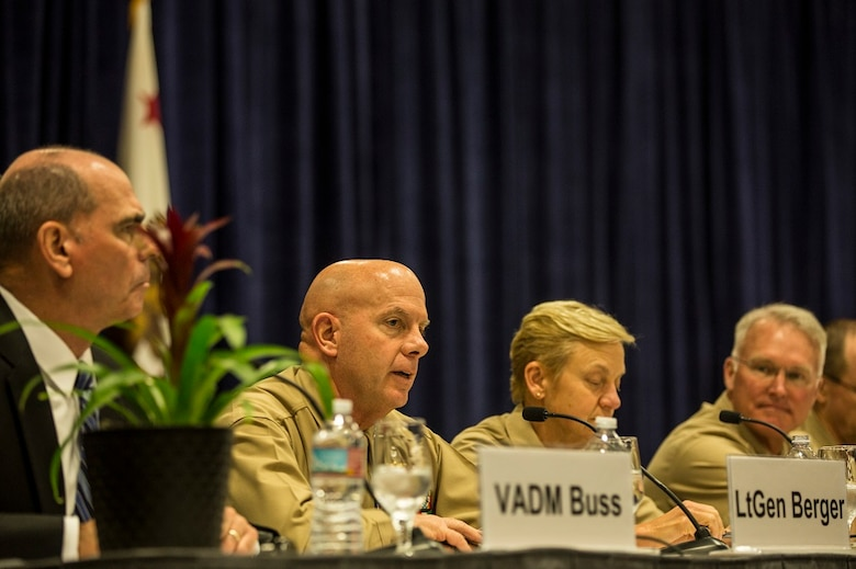 Lt. Gen. David H. Berger discusses command and control and distributed operations during the WEST 2016 Conference at the San Diego Convention Center, Feb. 17, 2016. The purpose of the conference was for service members to come together and discuss strategic military concepts and training, as well as meet with companies that can assist in making their concepts a reality. Berger is the commanding general of I Marine Expeditionary Force.  (U.S. Marine Corps photo by Sgt. Emmanuel Ramos/Released)