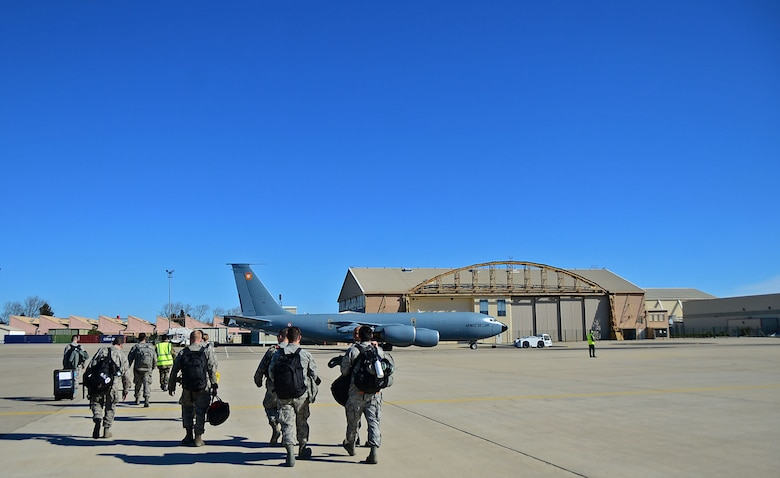 Airmen arrive at Istres-Le Tubé Air Base, France, in support of Operation Juniper Micron Feb. 21, 2016. Since 2013, the U.S has been supporting the French government in Operation Juniper Micron by providing air refueling and airlift support of French operations in Mali and North Africa. (U.S. Air Force photo/Senior Airman Erin Trower)
