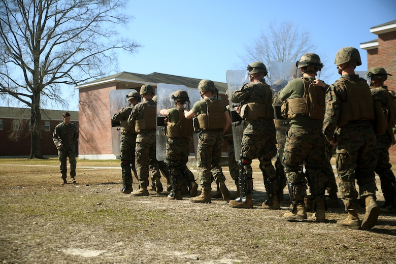 Marines with Combat Logistics Battalion 2 practice formations during non-lethal riot control training at Camp Lejeune, N.C., Feb. 18, 2016.  The training is in preparation for the unit's upcoming Special Purpose Marine Air-Ground Task Force-Crisis Response-Africa deployment later this year. (U.S. Marine Corps photo by Cpl. Joey Mendez)