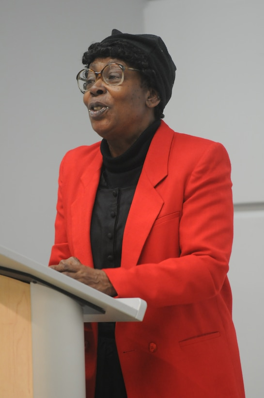 Actress Cynthia Maddox offers her portrayal of Poet Gwendolyn Brooks who grew up in Chicago. She wrote over 20 books of poetry including A Street in Bronzeville. The 75th Training Command conducted a Black History Month and Women's History Month observance on Feb. 20, 2016, at Fort Sheridan, Ill. (Photo by Spc. David Lietz)