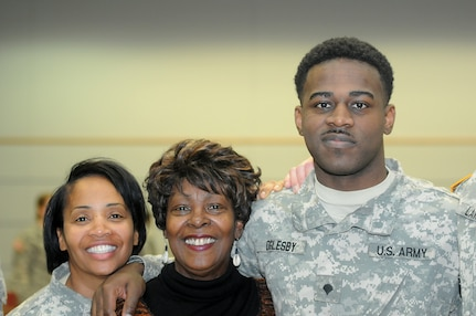 Army Reserve Lt. Col. Priscilla Van Zanten, left, equal opportunity adviser, Great Lakes Training Division, 75th Training Command, pauses for a photo with actress Cynthia Maddox, center and Spc. Rayson Oglesby, 3rd battalion, 335th Regiment, 181st Infantry Brigade, First Army Division West during the 75th TC's Black History Month and Women's History Month observance Feb. 20, 2016, at Fort Sheridan, Ill. (Photo by Spc. David Lietz)