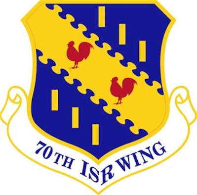 The shield of the 70th Intelligence, Surveillance and Reconniassance Wing at Fort George G. Meade, Md. It is a subordinate unit to the Air Force ISR Agency at Lackland Air Force Base, Texas.