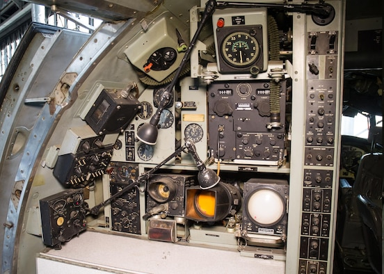"""DAYTON, Ohio -- Lockheed VC-121E """"Columbine III"""" flight deck view at the National Museum of the United States Air Force. (U.S. Air Force photo)"""
