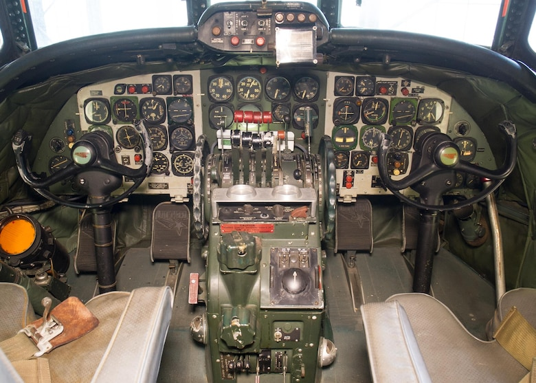 "DAYTON, Ohio -- Lockheed VC-121E ""Columbine III"" cockpit view at the National Museum of the United States Air Force. (U.S. Air Force photo)"