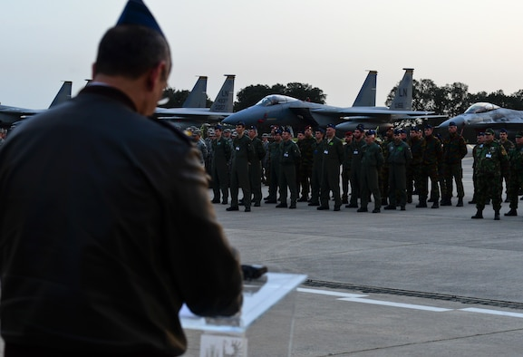 Brig. Gen. Barros Ferreira, Portuguese air force director of operations, speaks to U.S. Airmen as well as NATO and other ally forces during the opening ceremony for Real Thaw 2016 at Beja Air Base, Portugal, Feb. 21, 2016. RT16, taking place from February 22-March 3, is an exercise planned and conducted by the Portuguese air force, under the aegis of its Air Command, who are responsible for training and readying the operational units, through air operations in the defense of national interests, as well as through the participation in military operations in several international cooperation frameworks.  (U.S. Air Force photo by Senior Airman Dawn M. Weber/Released)