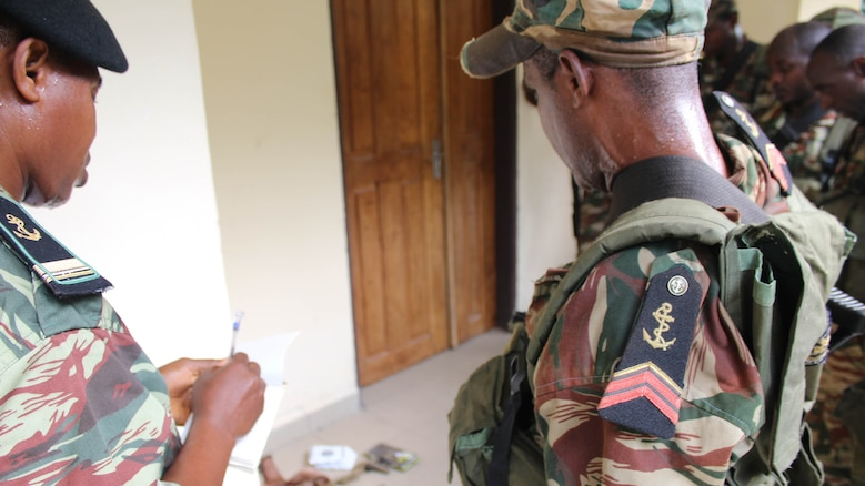 U.S. Marines and sailors are working with Cameroon's Fusiliers Marins and Compagnie des Palmeurs de Combat to increase their capabilities to combat illicit activity and increase security in the waterways and borders of Cameroon. At the request of the Cameroonian government and through coordination with the U.S. Embassy in Yaounde, Marines and sailors with Special-Purpose Marine Air-Ground Task Force Crisis Response-Africa, are teaching their military counterparts in infantry tactics to help build their maritime security force capabilities.