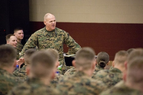 Commandant of the Marine Corps Gen. Robert B. Neller speaks with Marines at Camp Barrett, Marine Corps Base Quantico, Va., Feb. 23, 2016. Neller spoke to Fox Company, The Basic School, about his expectations of Marines and his initial planning guidance. (U.S. Marine Corps photo by Staff Sgt. Gabriela Garcia/Released)