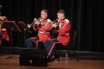 """On Feb.  23, 2016, a brass quintet from """"The President's Own"""" performed a Music in the High Schools program for more than 200 students at Oxon Hill High School in Oxon Hill, Md. (U.S. Marine Corps photo by Master Sgt. Kristin duBois/released)"""