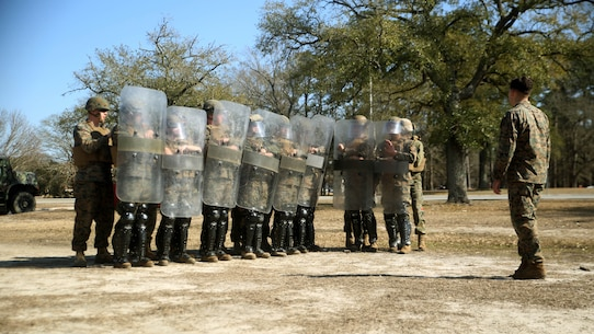 Marines with Combat Logistics Battalion 2 practice formations during non-lethal riot control training at  Marine Corps Base Camp Lejeune, N.C., Feb. 18, 2016. The training is in preparation for the unit's upcoming Special Purpose Marine Air-Ground Task Force-Crisis Response-Africa deployment later this year.