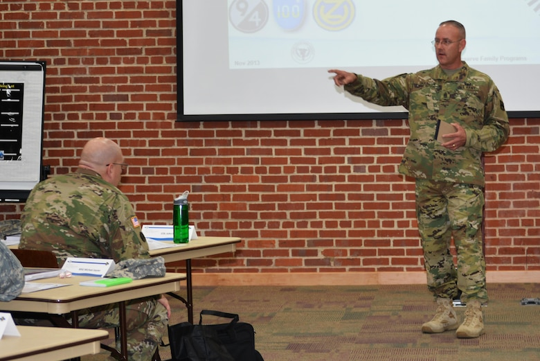 Command Sgt. Maj. Jeff Darlington, the 80th Training Command senior noncommissioned officer, addresses leaders representing subordinate units from across the command marking the start of the Family Programs office's three day long Chain of Command training.