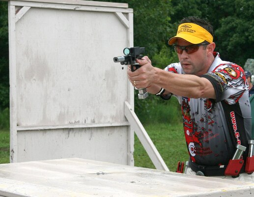 Huntsville Center civil engineer and administration contracting officer Darren Mulford competes at a USPSA shooting event. Also a part-time gunsmith, he builds all of his competition handguns. (Courtesy photo)