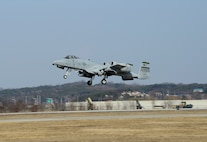 A U.S. Air Force A-10 Thunderbolt II takes off during Buddy Wing 16-2 at Osan Air Base, Republic of Korea, Feb. 23, 2016. Buddy Wing 16-2 is an ongoing program to train U.S. Air Force and ROKAF pilots to fight together in the event of real world contingencies. (U.S. Air Force photo by Senior Airman Kristin High/Released)