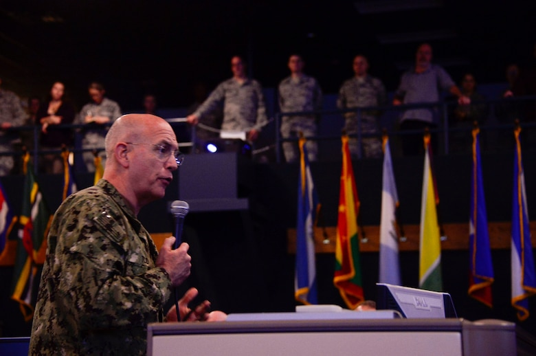 U.S. Navy Adm. Kurt Tidd, U.S. Southern Command commander, addresses Airmen from the 12th Air Force (Air Forces Southern) and the 612th Air and Space Operations Center during a visit to Davis-Monthan AFB, Ariz., Feb. 23, 2016. Tidd assumed command of U.S. SOUTHCOM on Jan. 14, 2016 and is familiarizing himself with the various component services that make up a combatant command.  U.S. SOUTHCOM is responsible for all Department of Defense security cooperation in the 45 nations and territories of Central and South America and the Caribbean.  AFSOUTH is the air component to U.S. SOUTHCOM responsible for U.S. air and space operations throughout U.S. SOUTHCOM's area of responsibility. (U.S. Air Force photo by Tech. Sgt. Heather R. Redman/Released)