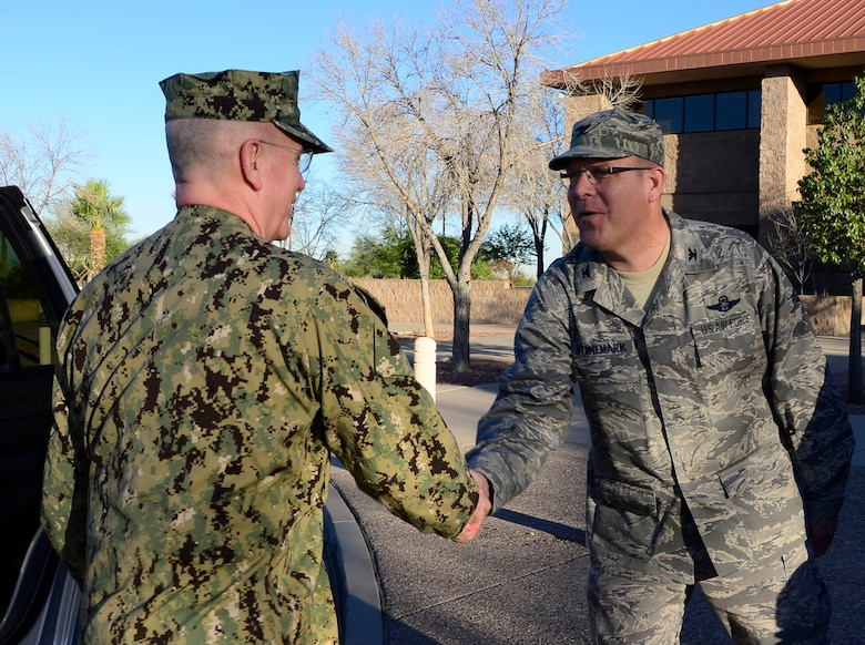 U.S. Navy Adm. Kurt Tidd, U.S. Southern Command commander, is greeted by U.S. Air Force Col. Robert Stonemark, 12th Air Force (Air Forces Southern) chief of staff, during the Tidd's visit to 12th AF (AFSOUTH) at Davis-Monthan AFB, Ariz., Feb. 23, 2016.  Tidd assumed command of U.S. SOUTHCOM on Jan. 14, 2016 and is familiarizing himself with the various component services that make up a combatant command.  U.S. SOUTHCOM is responsible for all Department of Defense security cooperation in the 45 nations and territories of Central and South America and the Caribbean.  AFSOUTH is the air component to U.S. SOUTHCOM responsible for U.S. air and space operations throughout U.S. SOUTHCOM's area of responsibility.  (U.S. Air Force photo by Tech. Sgt. Heather R. Redman/Released)