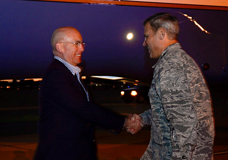 U.S. Navy Adm. Kurt Tidd, U.S. Southern Command commander, is greeted by U.S. Air Force Lt. Gen. Chris Nowland, 12th Air Force (Air Forces Southern) commander, during the Tidd's visit to the 12th AF (AFSOUTH) at Davis-Monthan AFB, Ariz., Feb. 22, 2016.  Tidd assumed command of U.S. SOUTHCOM on Jan. 14, 2016 and is familiarizing himself with the various component services that make up a combatant command.  U.S. SOUTHCOM is responsible for all Department of Defense security cooperation in the 45 nations and territories of Central and South America and the Caribbean.  AFSOUTH is the air component to U.S. SOUTHCOM responsible for U.S. air and space operations throughout U.S. SOUTHCOM's area of responsibility. (U.S. Air Force photo by Tech. Sgt. Heather R. Redman/Released)