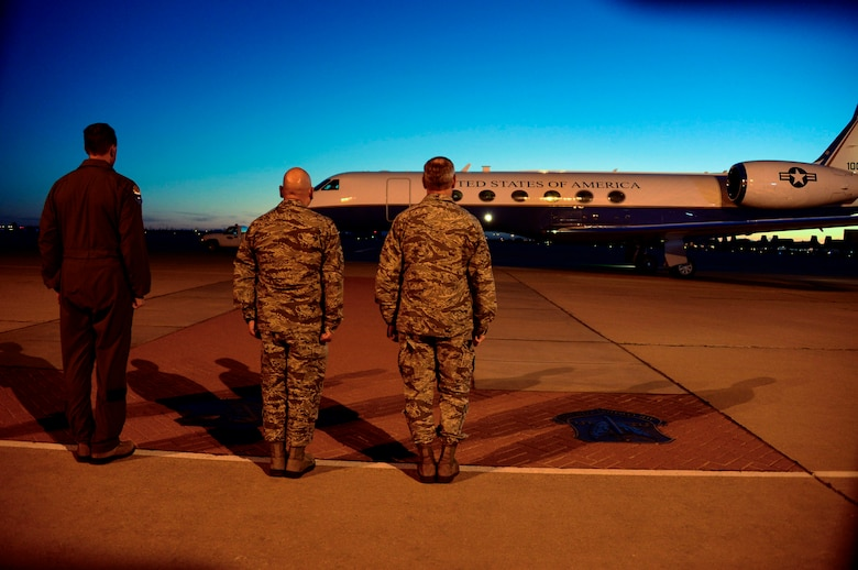 U.S. Air Force, Col. James Meger, 355th Fighter Wing commander, U.S. Air Force Chief Master Sgt. Jose Barraza, 12th Air Force (Air Forces Southern) command chief, and U.S. Air Force Lt. Gen. Chris Nowland, 12th AF (AFSOUTH) commander, prepare for the arrival of U.S. Navy Adm. Kurt Tidd, U.S. Southern Command commander, and U.S. Army Command Sgt. Maj. William Zaiser, U.S. SOUTHCOM senior enlisted leader, at Davis-Monthan AFB, Ariz., Feb. 22, 2016.  Tidd assumed command of U.S. SOUTHCOM on Jan. 14, 2016 and is familiarizing himself with the various component services that make up a combatant command.  U.S. SOUTHCOM is responsible for all Department of Defense security cooperation in the 45 nations and territories of Central and South America and the Caribbean.  AFSOUTH is the air component to U.S. SOUTHCOM responsible for U.S. air and space operations throughout U.S. SOUTHCOM's area of responsibility. (U.S. Air Force photo by Tech. Sgt. Heather R. Redman/Released)