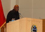 Dr. Arthur E. Thomas encourages Naval Support Activity Philadelphia employees to be resilient during the African American History Month observance event Feb. 18.
