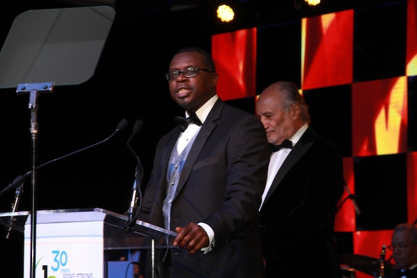 Ernest Yelder, Cybersecurity Technical Lead  at Combat Direction Systems Activity, Dam Neck accepts his 2016 Black Engineer of the Year Award from Dr. Ken Washington, Vice President of Research and Advanced Engineering, Ford Motor Company during the 30th Annual Black Engineer of the Year Awards (BEYA) in Philadelphia February 20.  Yelder is only one of three Navy engineers honored and the only one from Hampton Roads.