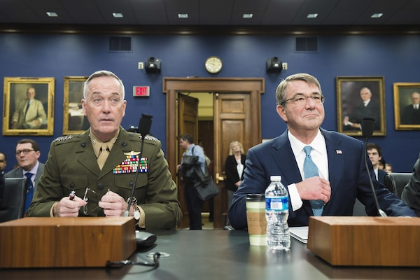 Defense Secretary Ash Carter, right, and Marine Corps Gen. Joseph F. Dunford Jr., chairman of the Joint Chiefs of Staff, testify before the House Appropriations Committee in Washington, D.C., Feb. 25, 2016. DoD photo by Army Staff Sgt. Sean K. Harp