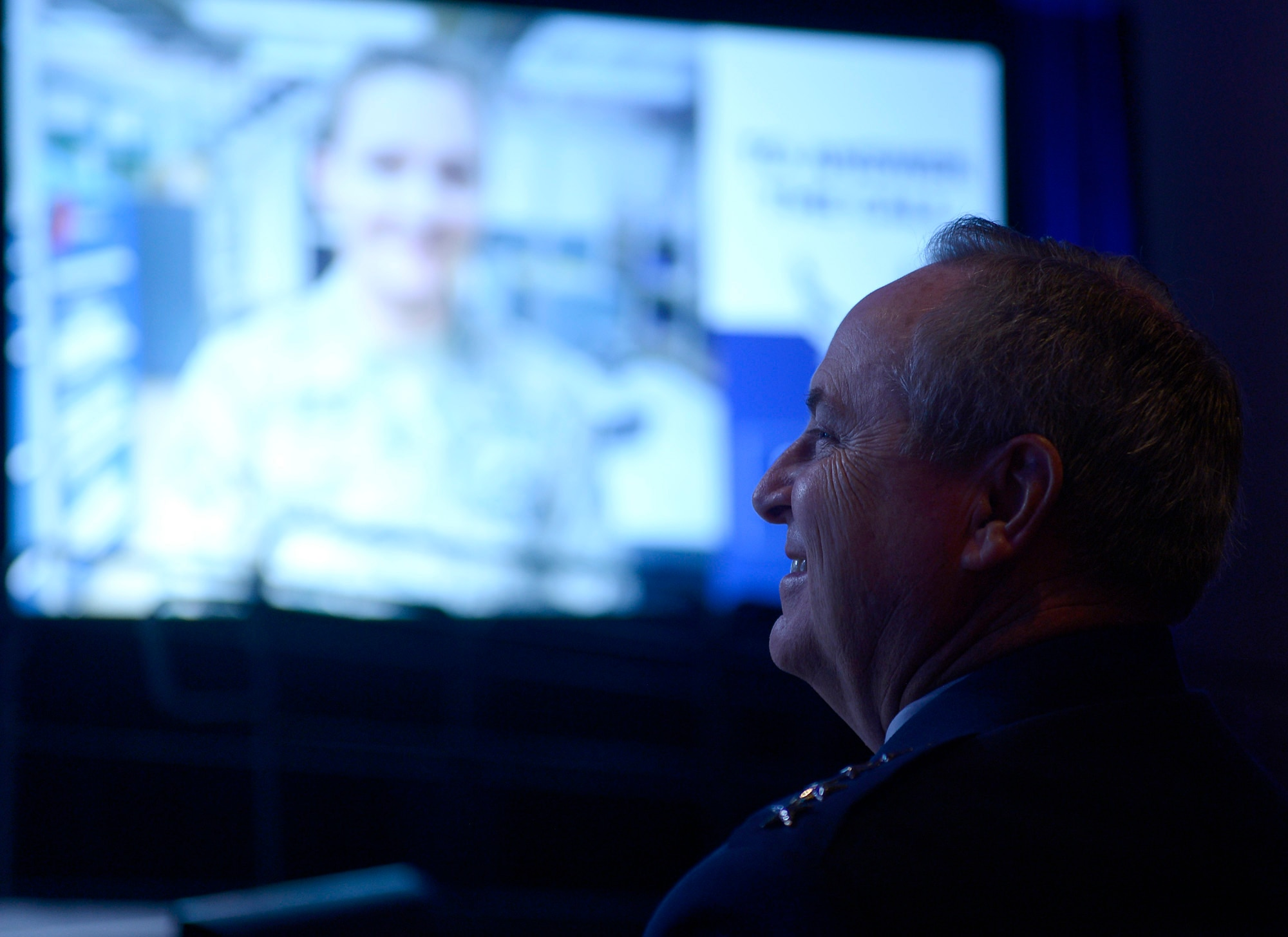 Air Force Chief of Staff Gen. Mark A. Welsh III listens as Chief Master Sgt. of the Air Force James A. Cody gives his enlisted perspective during the Air Force Association's Air Warfare Symposium in Orlando, Fla., Feb. 25, 2016.  (U.S. Air Force photo/Scott M. Ash)