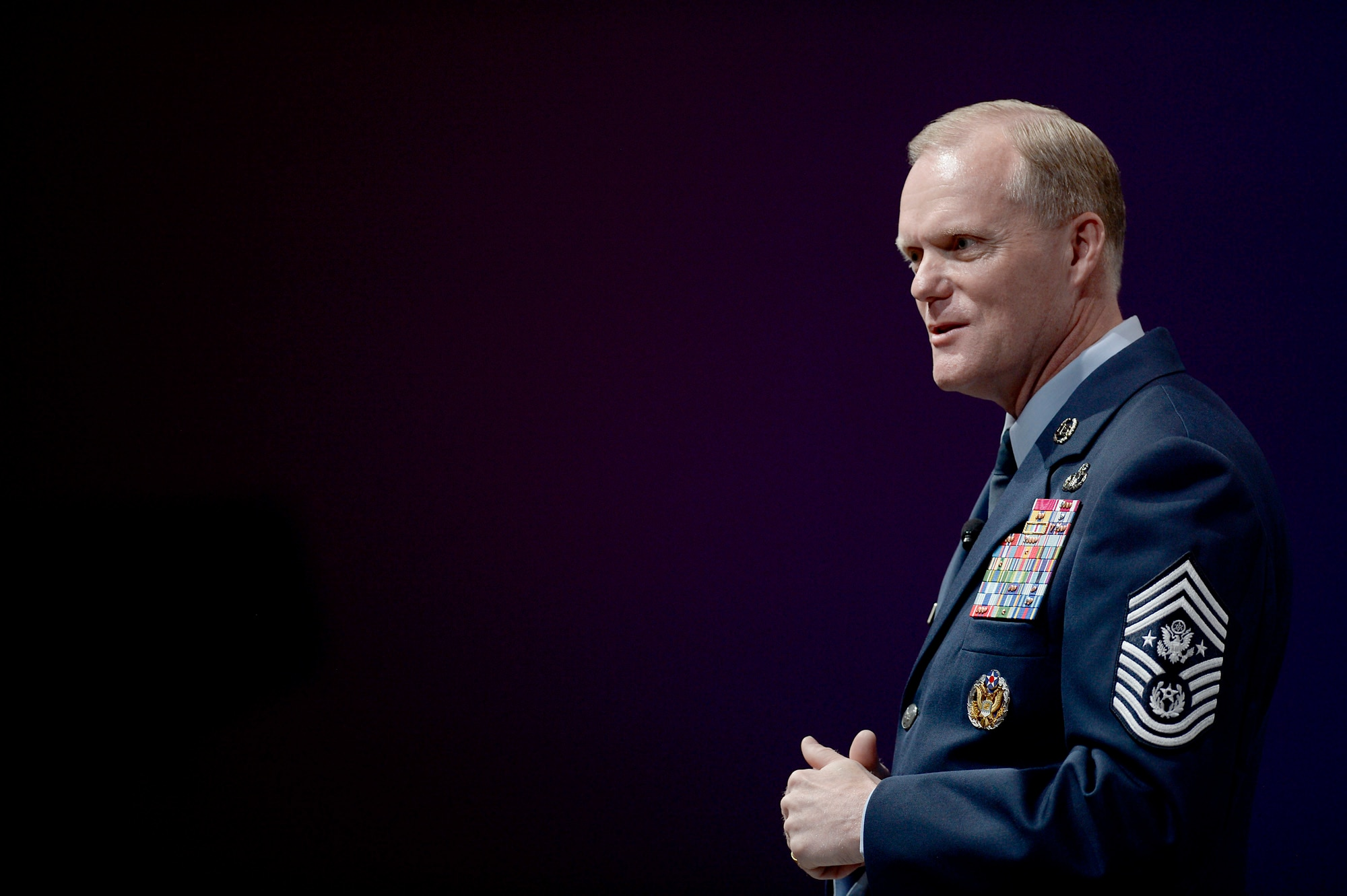 Chief Master Sgt. of the Air Force James A. Cody gives his enlisted perspective during the Air Force Association's Air Warfare Symposium in Orlando, Fla., Feb. 25, 2016.  (U.S. Air Force photo/Scott M. Ash)