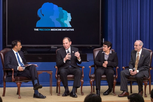 Veterans Affairs Secretary Robert McDonald, second from left, speaks during a panel discussion for the White House Precision Medicine Initiative Summit in Washington, D.C., Feb. 25, 2016. DoD photo by EJ Hersom