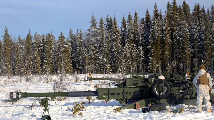 Marines with Combined Arms Company prepare their M777 Howitzers for a live-fire shoot in Rena, Norway, Feb. 23, 2016, in preparation for Exercise Cold Response 16. The exercise will include 12 NATO allies and partner nations, and approximately 16,000 troops. The Marines will provide indirect fire support for infantry units during the exercise.