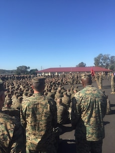 February 25 2016 Camp San Mateo-Colonel Kenneth R. Kassner, the Commanding Officer of Fifth Marine Regiment, addresses the Regiment after presenting several Grizzly Awards to a selected group of Marines and Sailor who distinguished themselves in the performance of their duties from the rest of the Warriors in the Fighting Fifth.