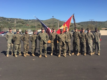 February 25 2016 Camp San Mateo-Colonel Kenneth R. Kassner and Sergeant Major Chuong T. Nguyen, Commanding Officer and Sergeant Major of Fifth Marine Regiment, congratulate recipients of the coveted Grizzly Award.  The Grizzly Award is presented to those Warriors of the Regiment whose have demonstrated a mission-first attitude, engaged leadership, professional competency, and loyal dedication to duty.