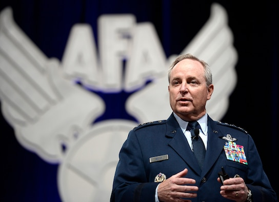 "Air Force Chief of Staff Gen. Mark A. Welsh III delivers his ""Air Force Update,"" during the Air Force Association's Air Warfare Symposium in Orlando, Fla., Feb. 25, 2016. (U.S. Air Force photo/Scott M. Ash)"