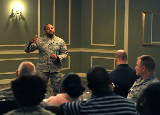 Master Sgt. Demetrius Booth, with the 55th Security Forces Squadron at Offutt Air Force Base, Neb., speaks to members of Team Offutt attending the Black History Month lunch and learn at the Patriot Club Feb. 17, 2016. The event was hosted by the Offutt Diversity Team. (U.S. Air Force photo/Senior Airman Rachel Hammes)